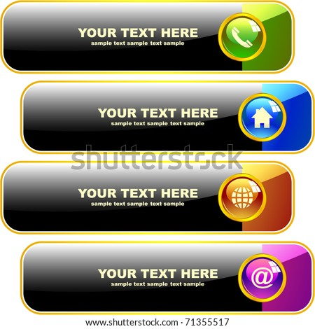 Contact banner set for design. - stock vector