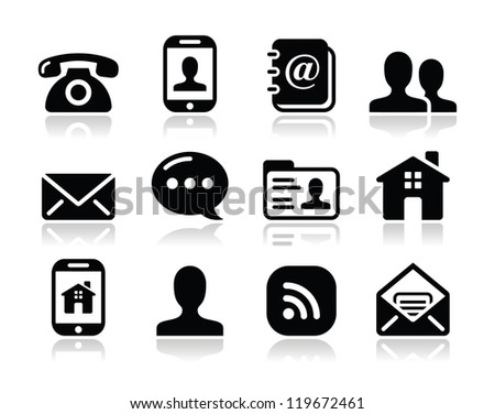 Contact black icons set - mobile, user, email, smartphone, blog, phone - stock vector