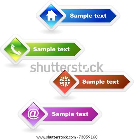 Contact button set for design - stock vector