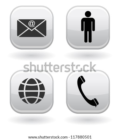 contact buttons - stock vector