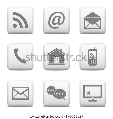 Contact buttons set, e-mail icons for website.