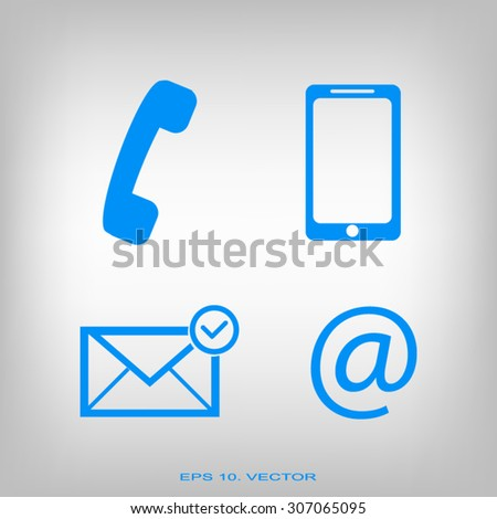 Contact buttons set - email, envelope, phone - stock vector