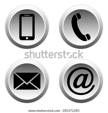 Contact buttons set - email, envelope, phone, mobile icons. - stock vector