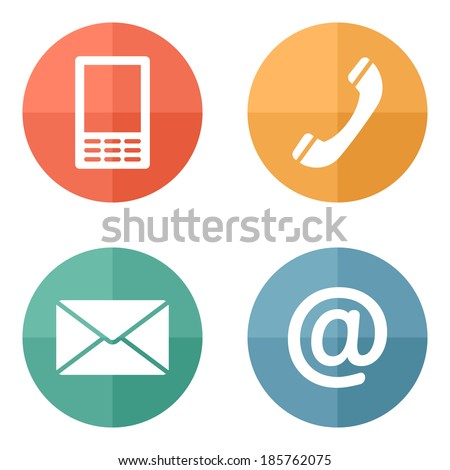Contact buttons set on bright texture - email, envelope, phone, mobile icons - stock vector