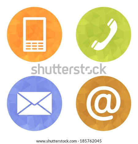Contact buttons set on wrinkled bright texture - email, envelope, phone, mobile icons