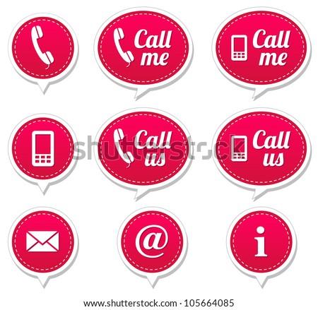 Contact, call me, call us magenta speech bubbles - stock vector