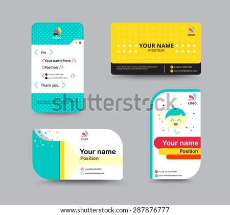 Contact card template business name card stock vector 287876777 contact card template business name card design set include sample text for replace content flashek Image collections