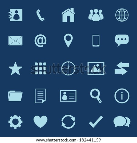 Contact color icons on blue background, stock vector - stock vector