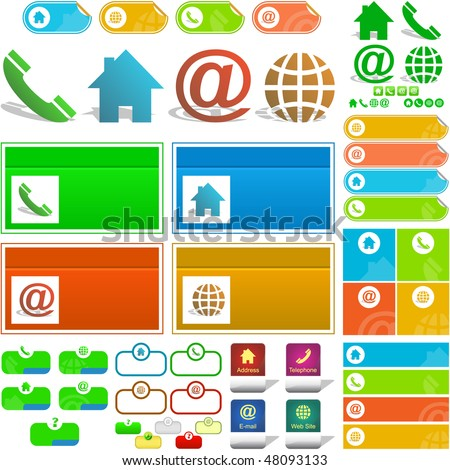 Contact elements for design. Great collection. - stock vector