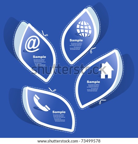 Contact elements. Sticker set for design. - stock vector