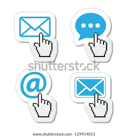 Contact - envelope, email, speech bubble  with cursor hand icons - stock vector