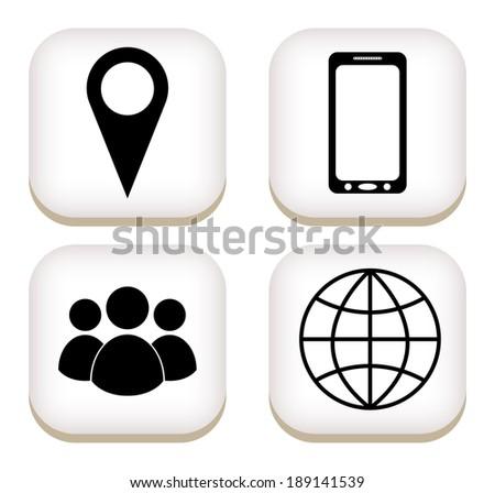 Contact flat button icons. vector - stock vector