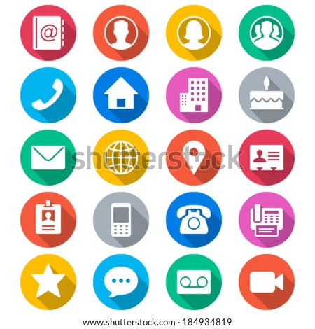Contact flat color icons - stock vector