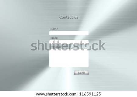 """Contact form page with metal background. """"Contact us"""" web form - stock vector"""