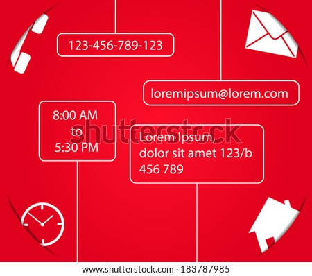 Contact form template for website in red and white color. Smart design with shadows. - stock vector