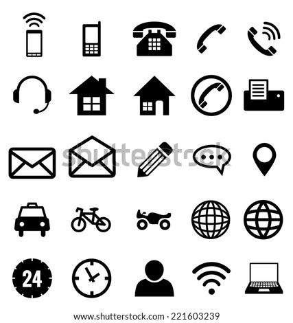 Contact icon collection vector for business - stock vector