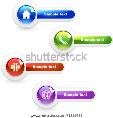 Contact icon set - phone, web, home, support, email, telephone, profile. Web buttons. - stock vector