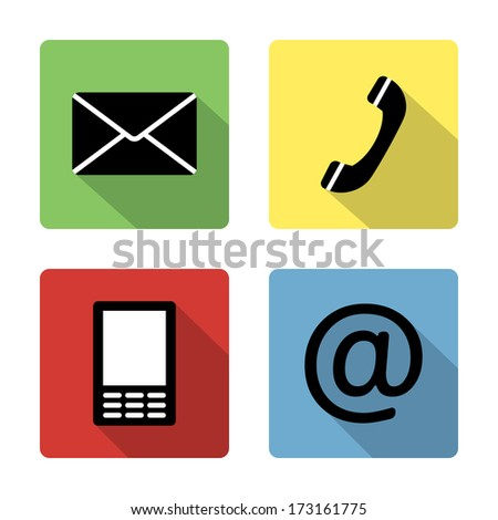 Contact icons buttons set - envelope, mobile, phone, mail - stock vector