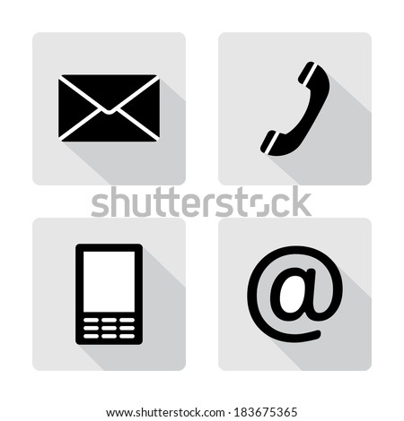 Contact icons buttonsset - envelope, mobile, phone, mail - stock vector