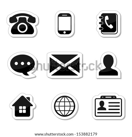 Contact Icons Set as labels - stock vector