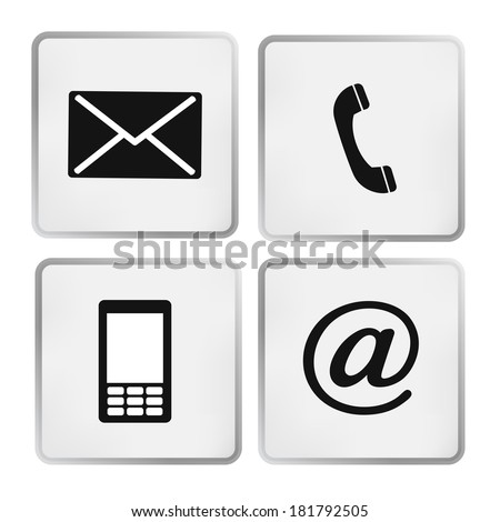 Contact icons set - envelope, mobile, phone, mail - stock vector