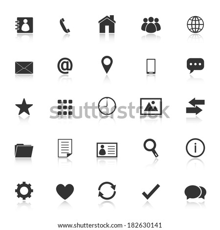 Contact icons with reflect on white background, stock vector - stock vector