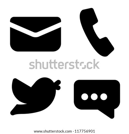 Contact information icons: mail, phone, social network and chat - stock vector