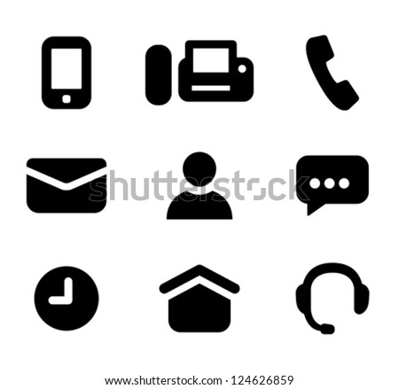Contact information signs: mobile phone, fax, telephone, email, person, instant messenger, time of work, business hours, address, hotline. Designed specifically for small sizes - stock vector