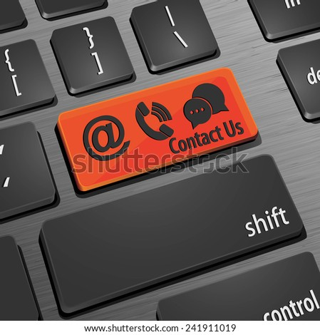 Contact key on the computer keyboard - stock vector