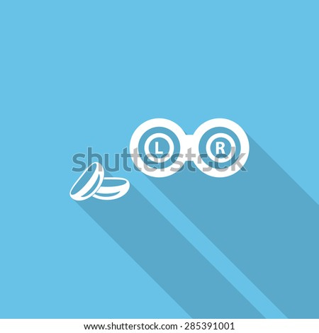Contact lens cases. Containers, for contact lenses  Flat icon with long shadow. - stock vector