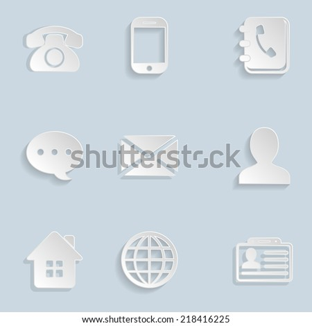 Contact Paper Icons Set - stock vector