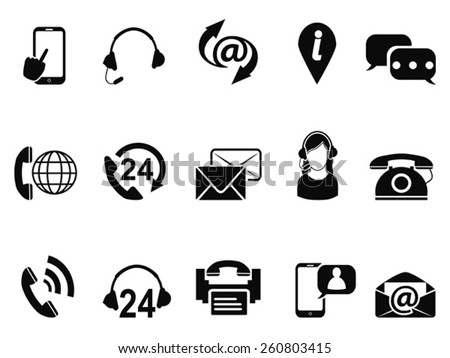 contact service icons set - stock vector