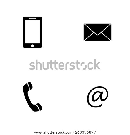 Contact set - email, envelope, phone, mobile icons - stock vector