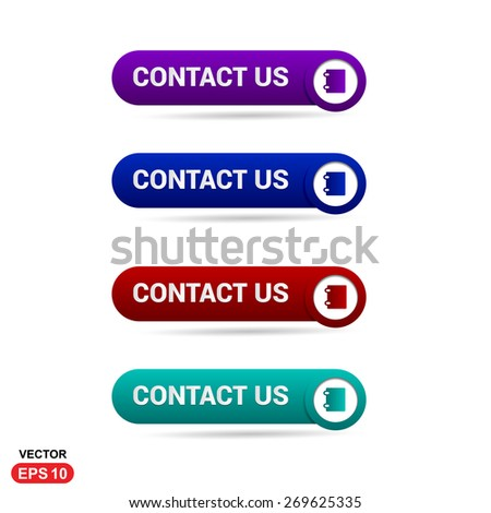 Contact Us Button. Abstract beautiful text button with icon. Purple Button, Blue Button, Red Button, Green Button, Turquoise button. web design element. Call to action icon button - stock vector