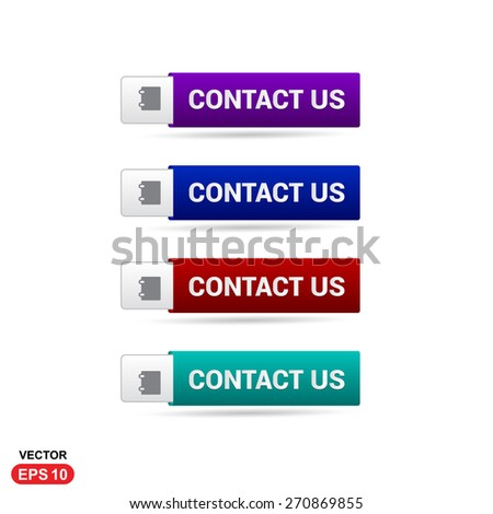 Contact us Button. Abstract beautiful text button with icon. Purple Button, Blue Button, Red Button, Green Button, Turquoise button. web design element. Call to action gray icon button - stock vector