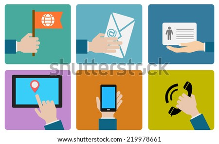 contact us flat icon design - stock vector