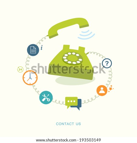 Contact us flat illustration with icons. eps8 - stock vector