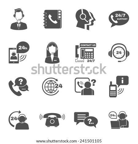 Contact us 24h support global worldwide information service black  icons set with  helpdesk operator vector isolated illustration - stock vector