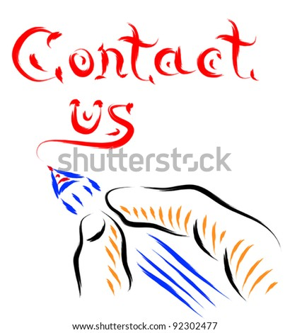contact us hand and pen writing