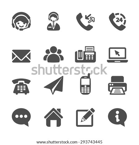 contact us icon set, vector eps10. - stock vector