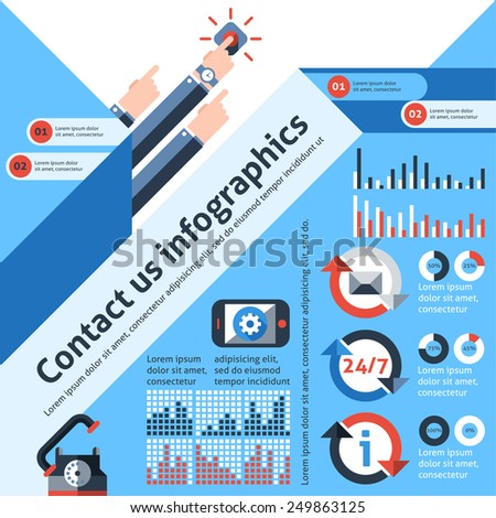 Contact us infographics set with telephone customer service communication elements and charts vector illustration - stock vector