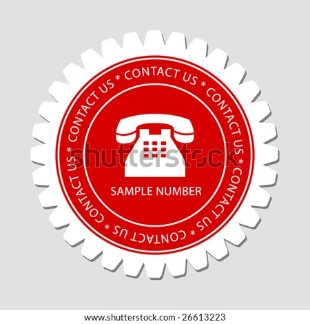 Contact Us Label with Telephone Sign - stock vector