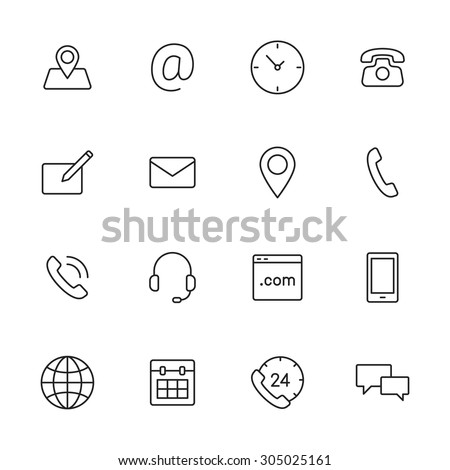 Contact us line icons for web and mobile app. - stock vector