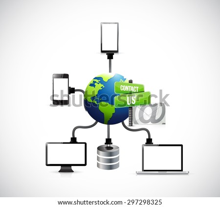contact us mail electronics diagram illustration design over white - stock vector