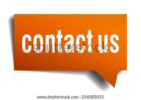 contact us orange speech bubble isolated on white - stock vector