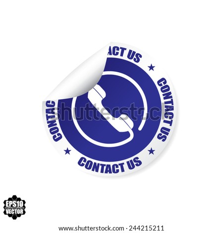 Contact Us Phone Sign Blue Design Stickers, Labels, Tag, Symbol And Icon - Vector Illustration.