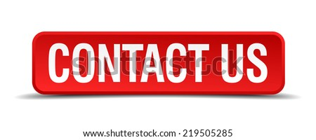 Contact us red three-dimensional square button isolated on white background - stock vector