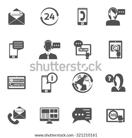 Contact us service line black icons set isolated vector illustration