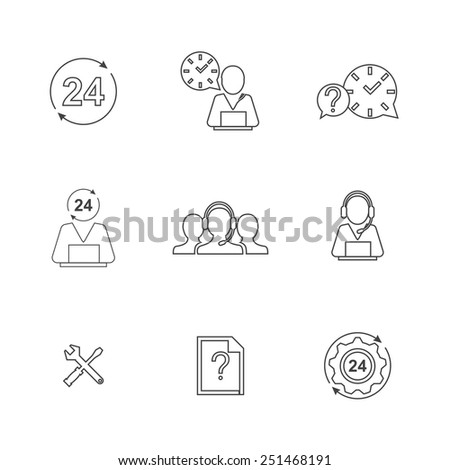 Contact us. Strokes not expanded. Outlines not converted to objects. line support icons - stock vector