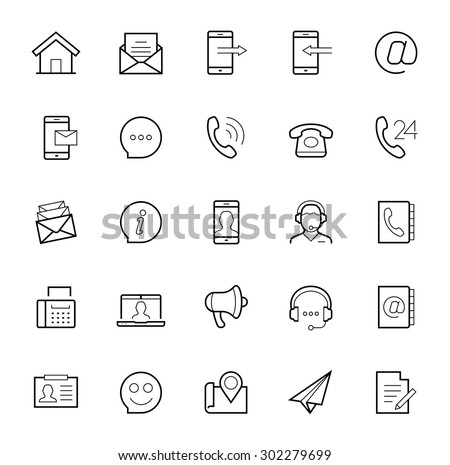Contact us vector icon set in thin line style on white background - stock vector